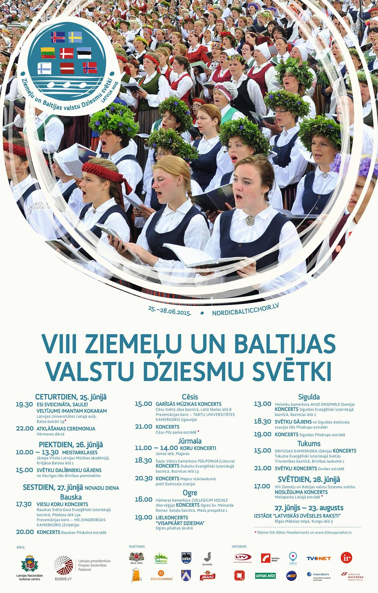 """Koris """"Maska"""" aicina apmeklēt VIII Ziemeļu un Baltijas valstu dziesmu svētku pasākumus!"""